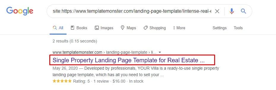product meta description in search results